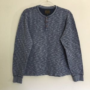 Lucky Brand Heather Blue Henley Pullover Sweater